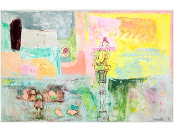 Large Painting wall Art Abstract canvas 40x26 mixed media turquoise, green, pink, cream Spanish Art