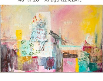 Abstract Painting canvas 40x26 Large wall Art mixed media turquoise green yellow pink Spanish Art
