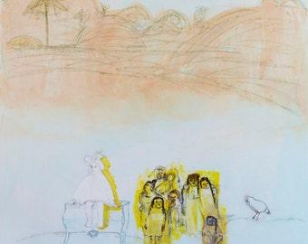Large canvas abstract Art. Original Painting, pink, orange, yellow, textures modern wall art, Spanish Art