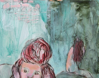 Original Painting 10x8 on cradled wood panel, two girls, for decor home, green turquoise, pink, mixed media expressionist art