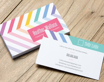 Lularoe business cards etsy chevron striped business cards printed business card template personalized calling card independent fashion consultant retail colourmoves