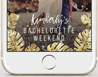 Gold Foil Palm Leaves Bachelorette Party Snapchat Geofilter, Glitter, Confetti, Bach Weekend, Hens Party, Wedding, Engagement, Custom Filter