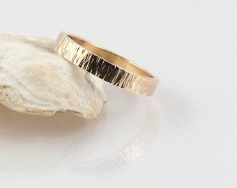 14K yellow gold wedding ring hammer finish; 4 mm wide ring, commitment ring, romance, handmade, custom, gold, bridal, wedding proposal