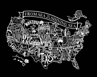 United States Chalkboard map artprint/poster