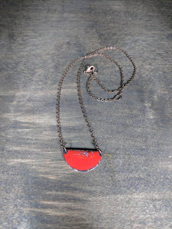 Enamel half moon- blue/teal and red