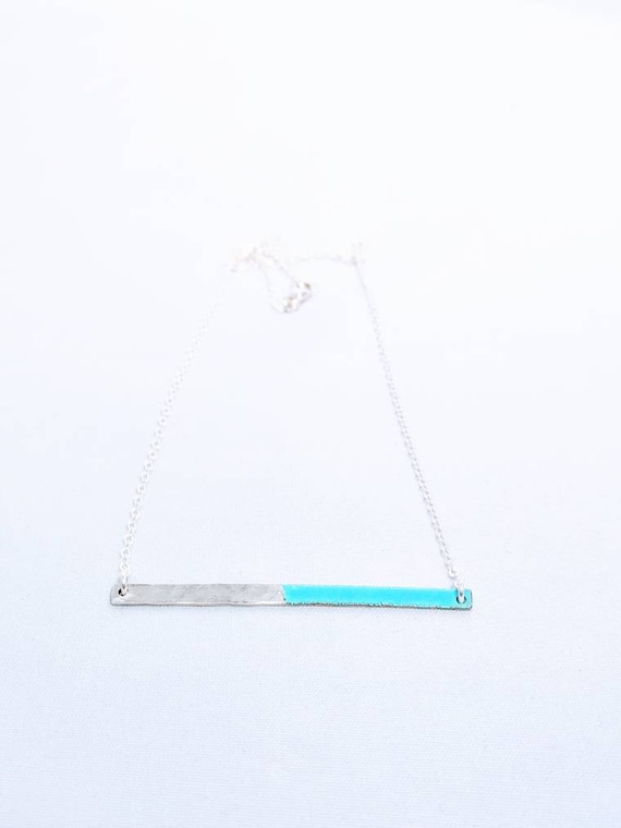Half enamel hammered silver bar necklace- many colors available