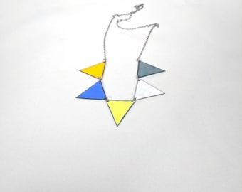 Dual sided, oversized flag necklace
