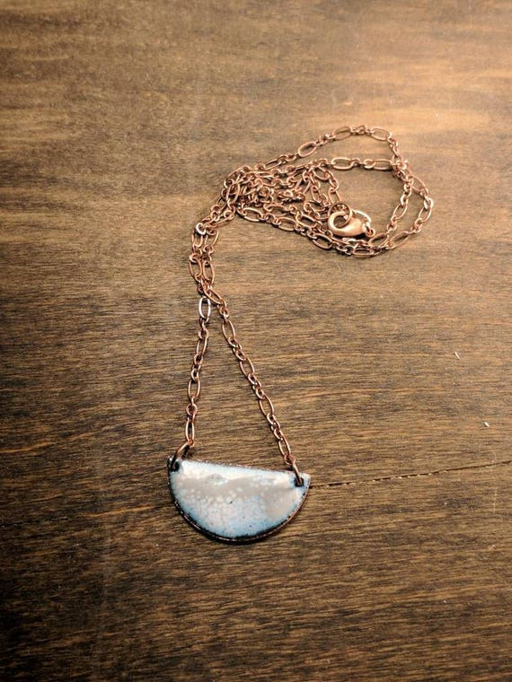 Enamel half moon- gray/white and blue/teal