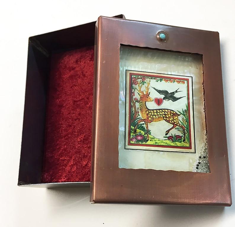 Love is Love Jewelry Box Animal Love Copper Box Kinetic Art Keepsake Box Deer and Sparrow Heart Reliquary Box Happy Keepsake Box