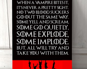 Vampire 80's inspired quote gift metal sign A4 metal plaque