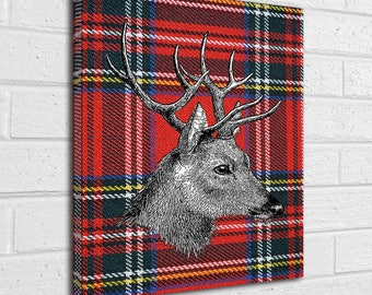 Red Tartan scottish stag canvas wall art picture