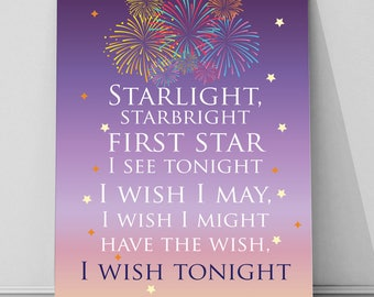 Starlight, starbright, Wishes disney fireworks, metal sign wall art