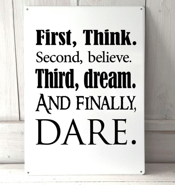 Disney Quote Plaques: Think Believe Dream Dare Disney Inspired Quote A4 Metal