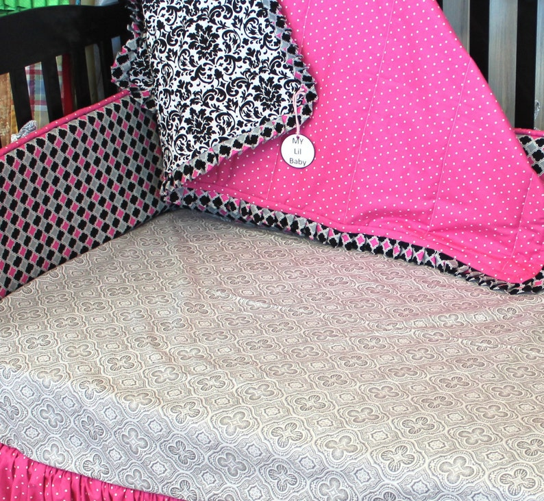 Baby Blanket Hot Pink Black and White With Ruffle