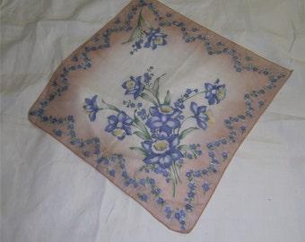 VINTAGE HANKIE - Blue Daffoldils