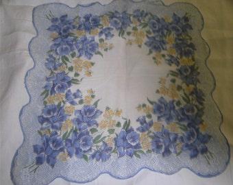 VINTAGE HANKIE - Blue Daffodils