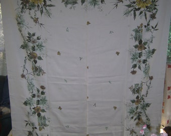 1950s PRINT KITCHEN TABLECLOTH - Fall Garden