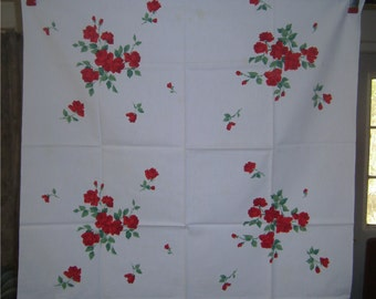 1950s PRINT KITCHEN TABLECLOTH - Widenuer Roses, Roses