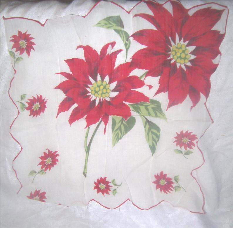 Poinsettias VINTAGE HANKIE CHRISTMAS