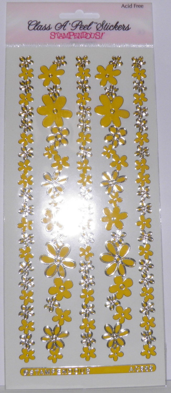 On Sale Yellow Flower Border Stickers Etsy