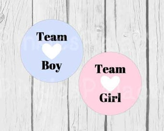 Gender Reveal Stickers Baby Boy Baby Girl Team Girl Team Boy Gender Party - Set of 24