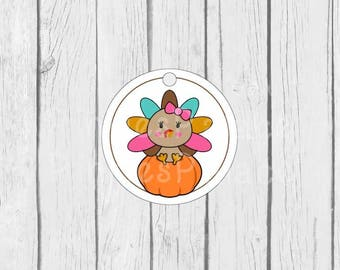 Thanksgiving Tags, Turkey Tags, Favor Tags, Gift Wrapping, Set of 12 - T602