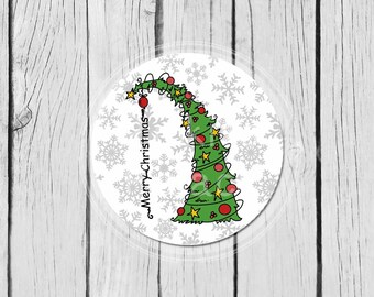 Christmas Tree Stickers,  Party Labels, Mason Jar Labels, Treat Bag Stickers