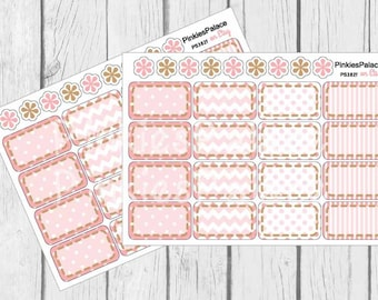 Half Box Planner Stickers set of 16 Pink Planner Stickers Dots Stripes, Chevron with Stitching