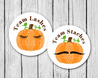 Gender Reveal Team Lashes Team Staches Pumpkins Stickers, Party Labels, Treat Bag Stickers