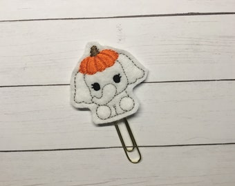 Elephant with Pumpkin Hat Feltie Planner Clip Fall Pumpkin Paperclip Planner Accessory Bookmark