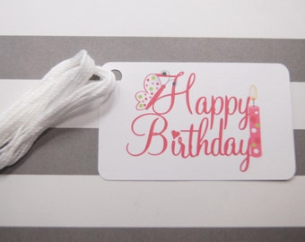 Happy Birthday Tags, Thank You Tags, Party Favor Tags, Gift Tags, Birthday Tags Set of 10