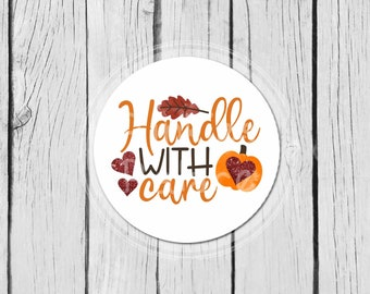 Fall Business Stickers Autumn Handle With Care Stickers