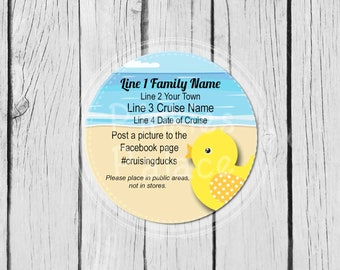 Custom Yellow Duck Cruise Stickers, Personalized Stickers, Party Labels, Mason Jar Labels, Treat Bag Stickers, Ducks