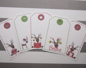 Christmas Gift Tags Holiday Reindeer Favor Tags Set of 10 - T555
