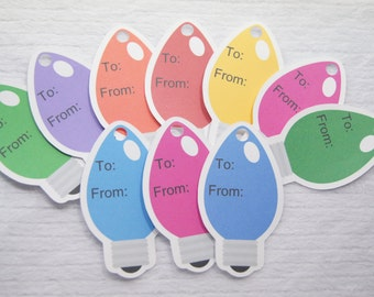 Gift Tags, Christmas Light Bulb Tags, Wrapping Tags, Package Labels, To From Tags - set of 10 tags