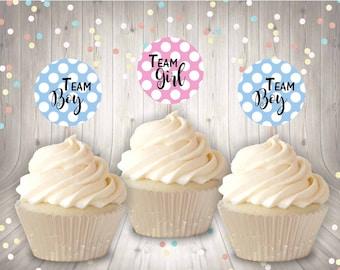 Gender Reveal Cupcake Toppers Team Boy Team Girl Elephant Cupcake Toppers Food Picks Set of 12