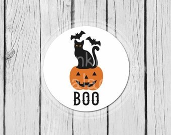 Halloween Stickers, Black Cat, Boo, Jack O'Lantern Party Labels, Mason Jar Labels, Treat Bag Stickers