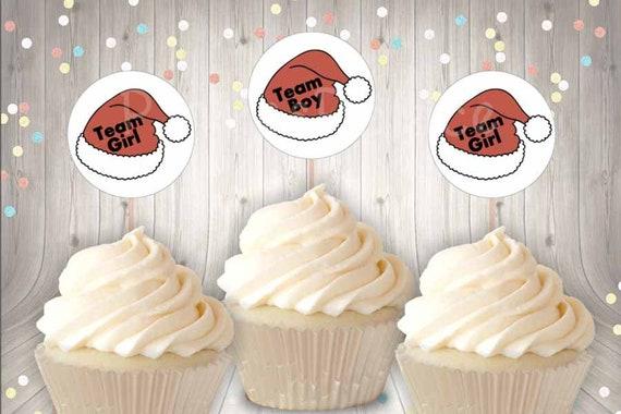 Christmas Gender Reveal Santa Hat Cupcake Toppers Team Girl Etsy