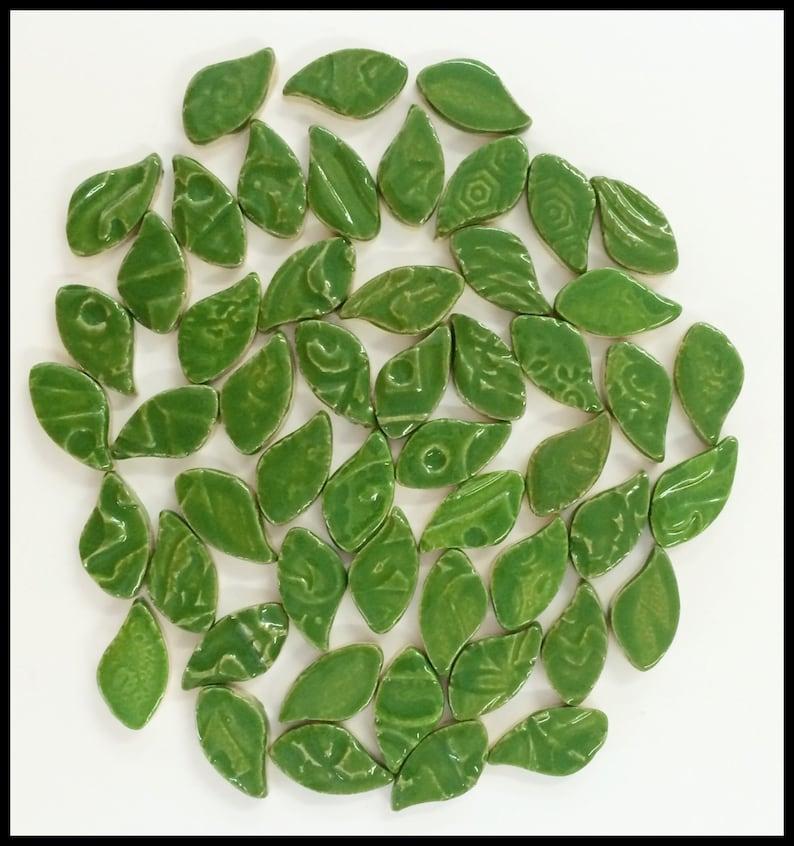 Ceramic Leaves  50 Mosaic Leaf Tiles  High Fired image 0