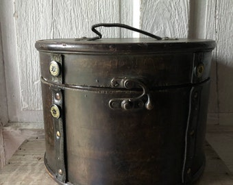 Vintage Leather Covered Hat Box