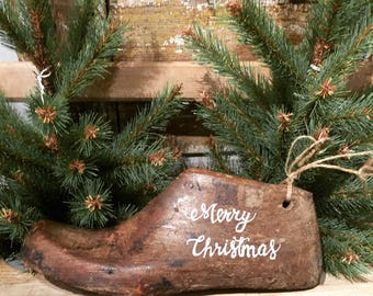 Antique Wood Shoe Mold Merry Christmas
