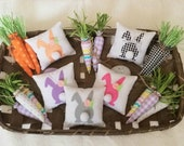 Easter decor...Plush Stuffed Carrots ...Tiered Tray Mini Fabric Pillow...Spring Decor...Black White Checked...Orange or Pastel...Decorations