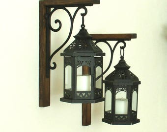 Ready to Ship. 2 Large Hanging Black Lanterns Rustic Farmhouse Wood Wall Decor...... Candle Sconce...Lantern Scones...Rustic Home Decor