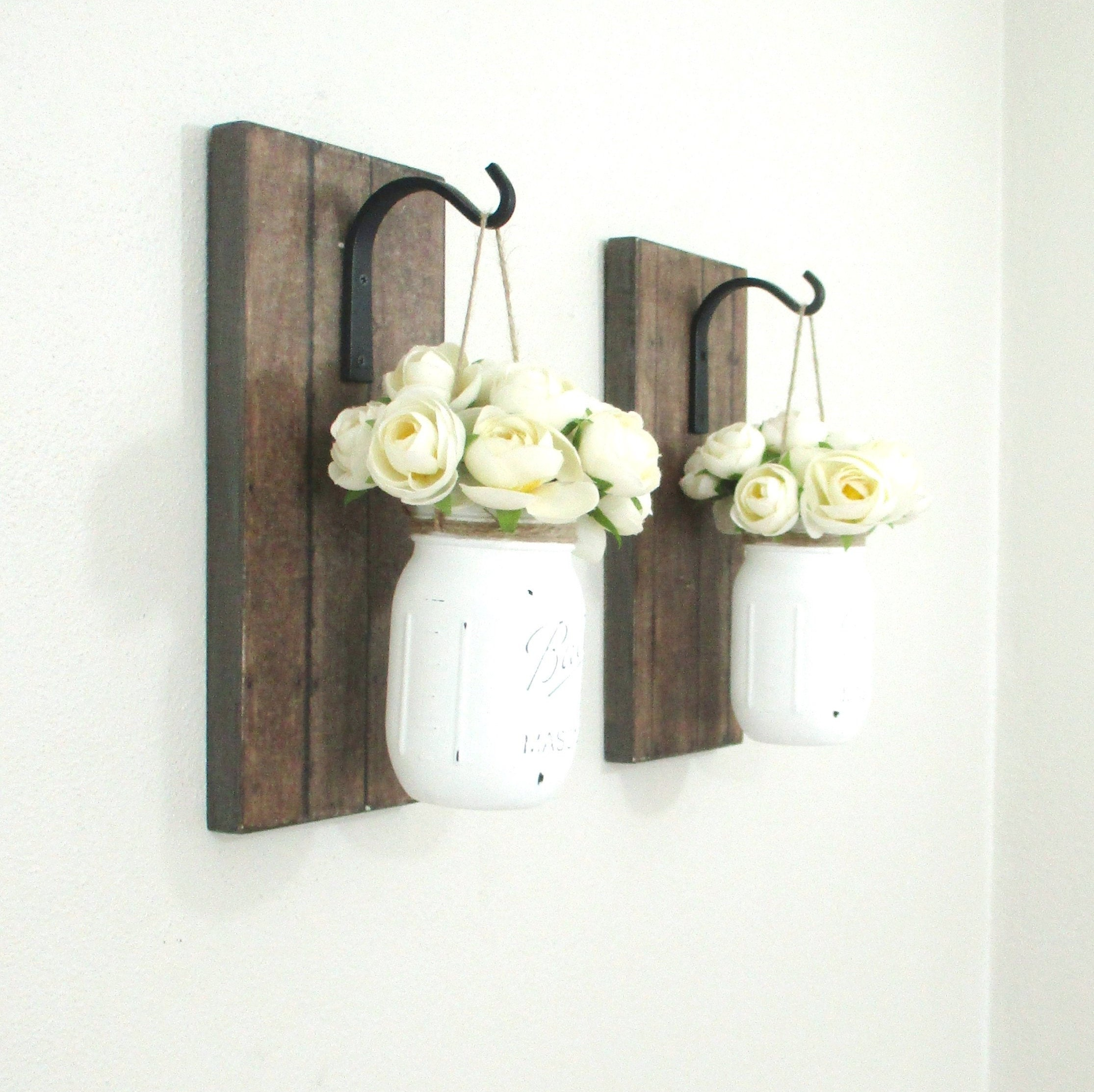 Skyrim Wall Sconces Not Working: Set Of 2 Hanging Mason Jar Sconce.. Wood Wall Decor