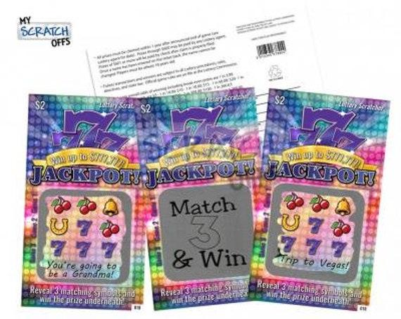 Diy Scratch Off Lotto Replica Card Purple Jackpot Design