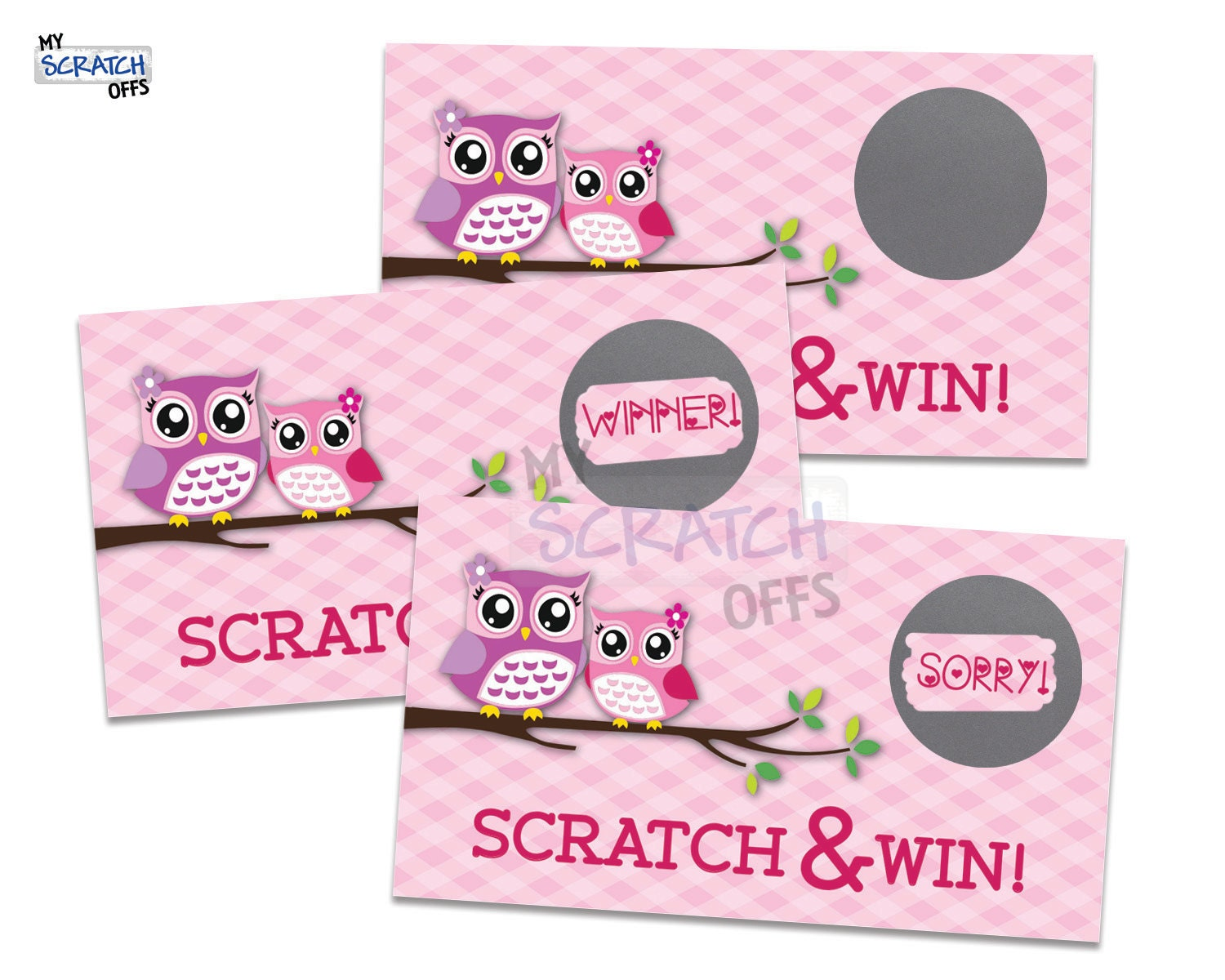 Owl Scratch Off Game Card Pink | Etsy