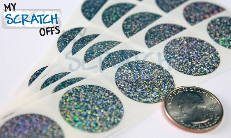 """50 Scratch Off Labels 1/"""" x 1/"""" Hologram Square Stickers"""