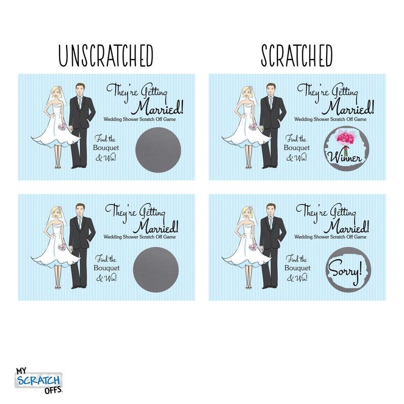 Scratch Off Game Card Light Blue Pinstriped Bridal Shower Game Wedding Shower Ticket Favor Scratch-Off