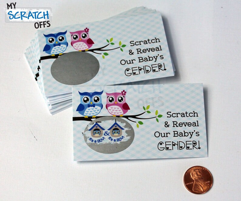 Twins Gender Reveal 25 cards Scratch Off Cute Owl Couple Game Cards Twin Babies Gender Announcement