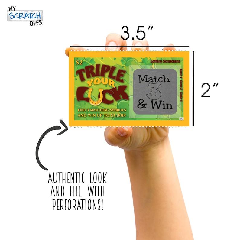 Triple Your Luck Design Pregnancy Announcement Scratch Off Lotto Replica Ticket
